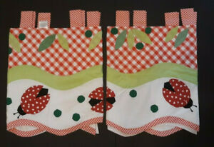 """Lot 2 Red Gingham White Ladybug Window Valance Sculpted Tab Top Curtain 60x20"""""""