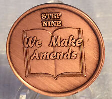 Step 9 Copper Twelve Step Medallion AA NA Recovery 12 Steps Serenity Prayer