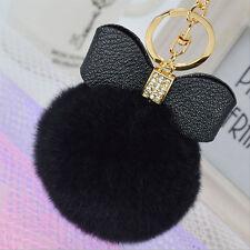 Rabbit Fur Fluffy Puff Ball Bow PomPom Charm Car Handbag Key Chain Ring