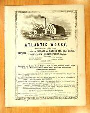 1856 Print Ads ATLANTIC WORKS East Boston Stationary & Marine Steam Engines