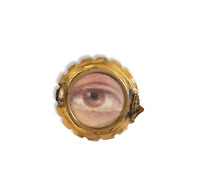 Antique Repousse 10k Rolled Gold Front Lovers Eye Mourning Brooch