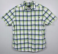 Marmot Short Sleeve Plaid Button Up Sport Shirt Mens Sz XL White Green Gray EUC