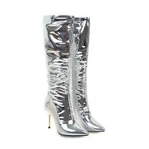 Women's High Heel Silver Patent Leather Pointed Toe US Shoe Size Mid Calf Boots