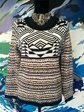 ALLY Knitted Jumper - Geometric Aztec Boho Knitted Black White Mustard Blue - 12