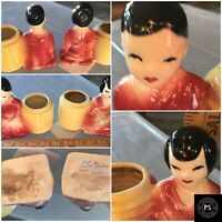 Vintage Oriental Pottery Planter Set Boy Girl Pair SKU 011-003