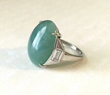 Platinum Jade & Diamond Ring Art Deco
