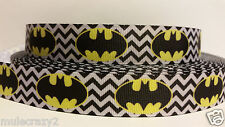 "Grosgrain Ribbon, Super Hero Yellow Batman Symbol on Black & White Chevron 7/8"""