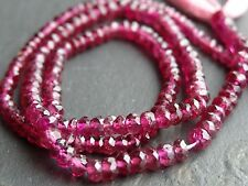 """34cts HAND FACETED PINK TOURMALINE RONDELLES, graduated 3mm - 3.8mm, 13.5"""""""