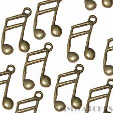 10 Tibetano Antiguo De Bronce De Notas Musicales encanto colgante Beads Tamaño 27mmx15mm ts68
