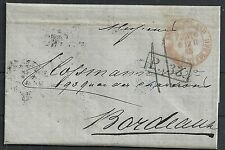 Russia 1865 folded letter St.Petersburg to Bordeaux + Postmarks