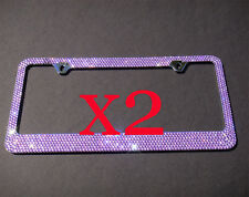 2 PCS 7 Rows PURPLE(A- Type Screw Cap) Bling Crystal License Plate Frame