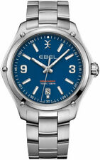 New Ebel Swiss Discovery 41mm Mens Stainless Date Blue Dial Watch 1216400