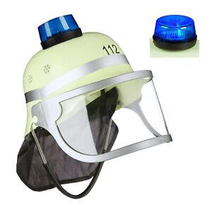 Feuerwehrhelm Kinder mit Blaulicht, Feuerwehrmann Helm, Kinderfeuerwehrhelm 112