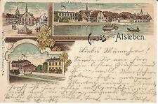 Alsleben, Gasthof zur Sonne, Bahnhof Belleben, alte Litho-Ansichtskarte von 1898