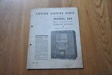 COSSOR Model 365 SUPER-HET récepteur radio authentique vintage Manuel. S.M.32