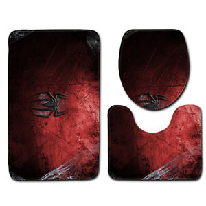 3 Piece 3D Spider Man Bathroom Rug Set Soft Non-slip Toilet Lid Cover Bath Mat