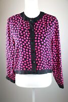Lord and Taylor Womens Blouse Pink and Black 100% Silk Size 8 Button Down Shirt