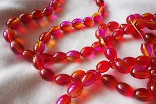 30 Red/Pink/Orange 11x8mm Oval Glass Beads #g3662 (Combine Post-See Listing)