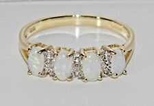 9ct Gold Natural Opal & Diamond Ladies Eternity Ring ~ size L
