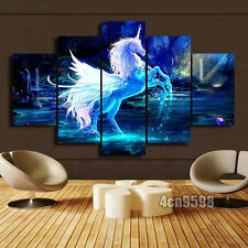 Modern paintings 5 pcs Print On Canvas Home Decor Blue Unicorn