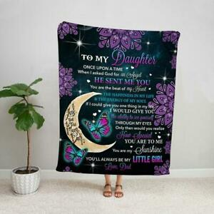 Purple Mandala Butterfly Dad to My Daughter Always Be My Little Girl Blanket