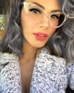 Fashion Cat Eye Glasses Multi-Colored Glass Transparent Frame Vintage