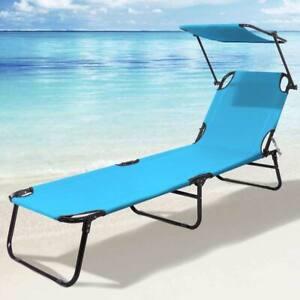 Lettino Prendisole Pieghevole Mare Spiaggia Sdraio con Tettuccio Parasole Blu
