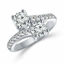 2 Carat Forever Us Two Stone Engagement Diamond Solitaire Ring in 14K White Gold