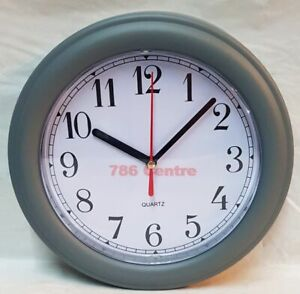 Grey Modern Small Quartz Wall Clock Red second hand & White face & Easy to See