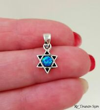 Blue Opal Star of David Pendant 925 Sterling Silver Israel Judaica Jewelry Charm