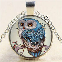 Retro Beautiful Owl Photo Cabochon Glass Pendant Tibet Silver Chain Necklace