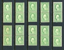WHOLESALE LOT of 10 US #486 1918 1c Wash. Mint NH Coil Line Pairs Cat $95.00 SX3