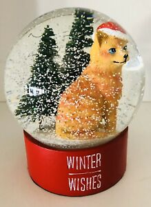Waterglobe Snow Globe Cat with Santa Hat Trees Winter Wishes
