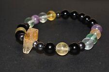 Citrine Black Tourmaline Hematite Bracelet Rainbow Fluorite Crystal Healing V3