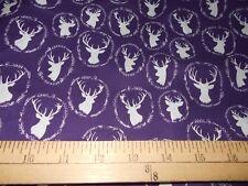 1 yard  Deer Heads on Purple  Fabric