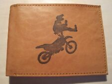 Mens Mankind Leather RFID Wallet w/ Motocross Dirt Bike Image & Message (Gift)