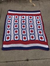 "Vintage Granny Square Afghan Red, White And Blue Americana 62"" X 50"""