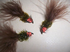 BULK SALE: 12 BROWN & ORANGE L'eglise Montana Lure + weighted size 10 Salmoflies