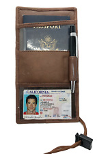 Brown Leather Passport Cover Neck Strap ID Holder Card Wallet Travel Lanyard