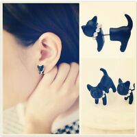 2* Simple Stereoscopic Cat Kitten Impalement Lady Stud Earring Black Punk