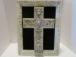 """Vtg Framed wall art jewelry rhinestones on velvet pushpin beads & pearls 18.5"""" T"""
