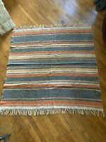 Beautiful Wool Serape Mexican Blanket Rug Wall Hanging Nice Neutrals Vintage