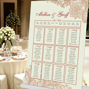 PERSONALISED WEDDING TABLE PLAN, PLACE CARDS & NUMBERS LACE STYLE ~ - ANY COLOUR