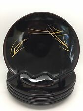 Set of 5 Vintage Japanese Lacquer Ware Round 5 3/8