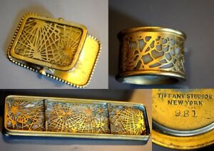 TIFFANY STUDIOS BRONZE Pine Needle slag glass Pen tray Brush Pot Paper Clip 1900