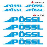 Kit completo 8 adesivi per camper Pössl AZZURRO loghi possl caravan roulotte
