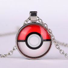 Japan Anime Pokemon Pokeball Glass Dome Pendant Necklace Jewelry Silver Chain
