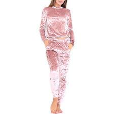 Womens Crushed Velvet Tracksuit Set Sweatshirt Top & Pants Winter Warm Loungwear