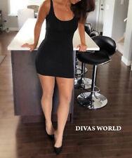 Micro Mini Dress Black Bodycon Ladies Spaghetti Straps Super Comfy Party Outfit