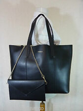 NWT Furla Onyx Black Pebbled Leather Large Elle Tote Bag $298